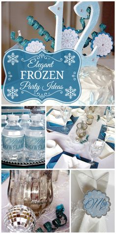 An elegant and sophisticated Frozen girl birthday celebration with silver, blue and white party decorations!  See more party ideas at CatchMyParty.com!