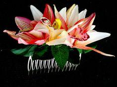 BRIDAL HAIR ACCESSORY Hawaiian Orchids Comb Hair by MalamaPua, $39.99