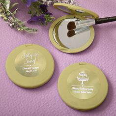Personalized Metallics Gold Compact Mirror Party Favors- Delight the ladies with these fabulous Metallics Collection compact mirrors when they arrive at your grand function. They are on trend, fun and fashionable, perfect to show off at the next lunc Food Wedding Favors, Creative Wedding Favors, Unique Wedding Favors, Bridal Shower Favors, Craft Wedding, Wedding Gifts, Gold Bottles, Personalized Favors, Personalized Wedding