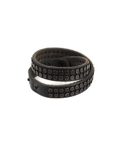 81 CARATI Double bracelet black leather with small studs clip closure Select size