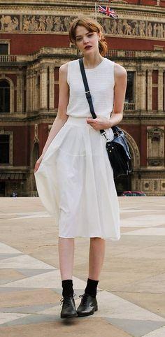 white A-line skirt: