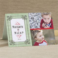 "Ha! Love the ""Naughty or Nice"" design! It's the Naughty or Nice Personalized Photo Christmas Card from PMall - you can create it with 1, 2, 3 or 4 photos. These personalized Christmas Cards are great because they look beautiful and save you a ton of time and money! #Christmas #ChristmasCard #NaughtyOrNice"