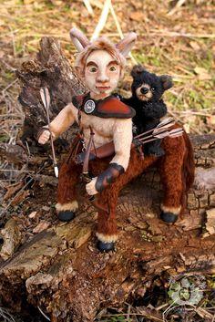 Brave Heart & Micki by Wayneston Bears #teddy bear #centaur #blackbear #artist bear #bearartist #artist doll #doll artist #needlefelting #waynestonstudios #waynestonbears