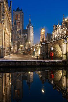 Dusk, Ghent, Belgium.