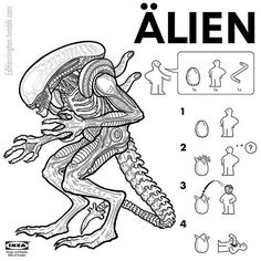 Alien creature from the Alien film series Illustrator and cartoonist Ed Harrington has created a funny collection of IKEA style assembly instructions that Horror Movie Posters, Horror Movie Characters, Horror Villains, Horror Icons, Alien Vs Predator, Predator Art, Famous Movies, Iconic Movies, Freddy Krueger