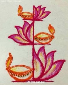 New Ideas Drawing Easy Simple Art Ideas Easy Rangoli Designs Videos, Easy Rangoli Designs Diwali, Indian Rangoli Designs, Rangoli Designs Latest, Simple Rangoli Designs Images, Rangoli Designs Flower, Free Hand Rangoli Design, Small Rangoli Design, Rangoli Border Designs