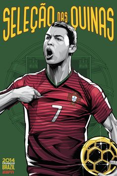 Portugal Poster (FIFA World Cup 2014 - Brazil) by Cristiano Siqueira Cristiano Ronaldo Portugal, Cristiano Ronaldo Cr7, Lionel Messi, Messi 10, Brazil World Cup, World Cup 2014, World Cup Teams, Fifa World Cup, World Cup Countries