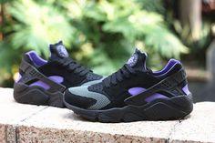 new arrival d0fb1 393ec Nike Air Huarache Mens Running SHoes Black Purple Black Black Huarache, Nike  Air Huarache,