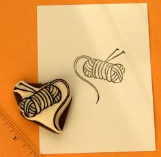 yarn skein stamp with knitting needles by lemonadesun on Etsy, $12.00