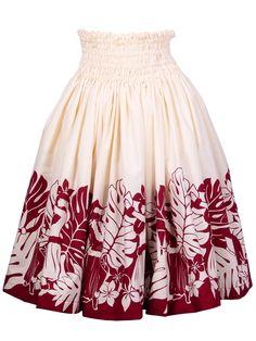 Hula Pa'u Skirt with Hula Girl Print / White & Wine / G1449
