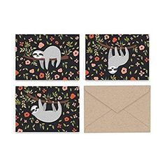 6f31d12a Paper Frenzy Silly Sloth Note Cards & Kraft Envelopes - 24 pack | These  super-cute sloth cards are just delightful!