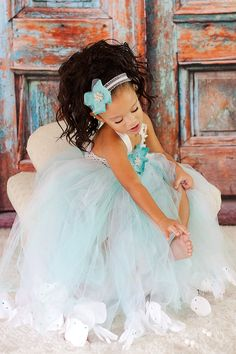 Tiffany blue/white Flower Girl TuTu Dress by BABYGIABOUTIQUE, $95.00