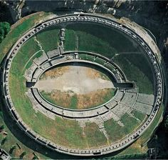*POMPEII, ITALY ~ Aerial view of the amphitheater, ca. 70 BCE.