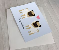 Wedding Card - Wedding Pugs Greeting Card - 2 Brides Wedding Card - Pug lover card - Gay Wedding Card - Gay Marriage - Lesbian Wedding Card by sophisticatedpup on Etsy
