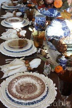 the blue & white with the turkey dishes for Fall is Beautiful!