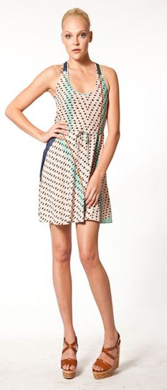 cynthia vincent flounce dress in indian dot. $275.00