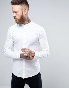 180ec14bdc5 ASOS Super Skinny Shirt In White With Grandad Collar