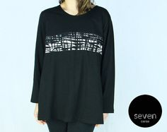 Loose Oversize Applique Tunic TShirt 14F43 / black by SevenCense, $48.00