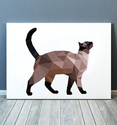 Animal print Cat poster Pet decor Geometric print TOA302
