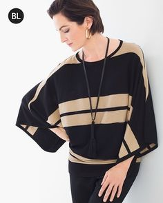 Neutral stripes go a stunning step further with dramatic Kimono sleeves. This…