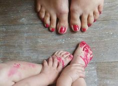 Oh I so want to do this! Nail polish for mom and baby!