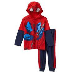 Toddler Boy Marvel Spider-Man Mock-Layered Hooded Tee & Fleece-Lined Jogger Pants Set, Size: