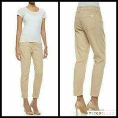 """Jen7 Sateen Skinny Cropped Khaki Pants These pants are from the people who brought you 7 For All Mankind. They are brand new, sateen Skinny Cropped pants in Khaki. Made of 80% cotton 15% rayon 5% polyurethane. Tag size is 14. Inseam is approximately 25.5"""" long. Jen 7 Pants Ankle & Cropped"""