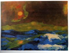 [ N ] Emil Nolde -  Meer mit gelber Sonne (Sea with Yellow Sun) (1941-46)