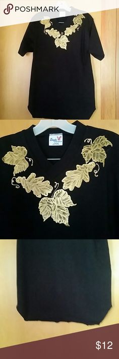 Top Short sleeved t shirt with gold grape leaves embellishments eagle sportswear Tops Tees - Short Sleeve