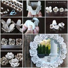 Paps,Moldes,E.V.A,Feltro,Costuras,Fofuchas 3D: Moldura de espelho decorada com Rosas de caixa de ovo passo a passo