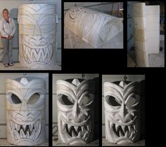 tiki-how-to-mini These are giant sized, but would also look good for a luminaire or a faux glass cover.I start w/ scrap styrofoam that's shaped like 1/2 hockey pucks.  Glue them on top of one another to make a  6 ft. tall half cyllinder.Then I draw a face. Next I cut the back out and hollow it out for future internal lighting.  Next I attack it with a hot knife from Demand Products. However, I really enjoy cutting loose and making my own giant sculptures