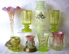 All vaseline glass pieces from Dave Peterson's collection of Bohemian and Sturbridge Art Glass.