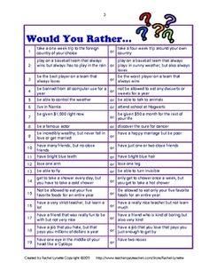 WOULD YOU RATHER - beginning of the year and have them go to the side of the room that shares their answer. or creative writing prompts! First days of school - go over and have them pick one to write about. Beginning Of The School Year, First Day Of School, School Days, Back To School, Sunday School, End Of School Ideas, School Fun, Middle School, School Stuff