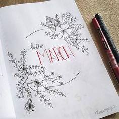 Bullet journal monthly cover page, March cover page, flower drawing. | @kamartproject