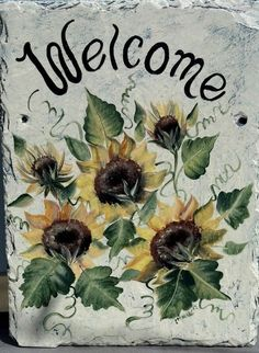 Slate Welcome Signs | Personalized Slate Welcome Sign SUNFLOWERS by ABeautifulGift