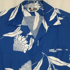 d034dd45 Vtg 70's Hawaiian Shirt Large Hilo Hattie Blue White Torch Ginger Aloha Mens  #HiloHattie #