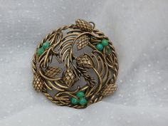Pine cone and Pine Needles Vintage Necklace Pendant, large vintage for crafting or repair