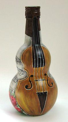 Botella pintada a mano, violín: