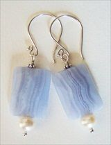Handmade blue lace agate earrings  handmade-beaded-gemstone-jewelry.com