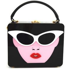 Black The new small bag fashion bag woman bag box acrylic glasses Satchel featuring polyvore, women's fashion, bags and handbags