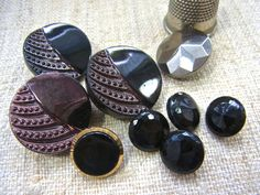 Early Vintage / Art Deco Black opaque Glass Buttons - Assorted 9 pieces by LeGrenierLondon on Etsy