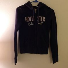 Hollister Zip Up Hoodie EUC with some slight discoloring on lettering. Navy blue. Worn a handful of times. Hollister Tops Sweatshirts & Hoodies