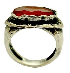 Sterling silver oxidized ring with rusty orange carnelian stone - Sunset.
