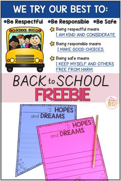 Help students connect learning goal and classroom rules. Download this free hopes and dreams writing banner to create a bulletin board you and the children can refer to all school year! #classroommanagement #classroomrules #teachingdiscipline