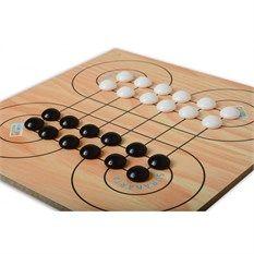 SURAKARTA OYUNCU SAYISI: 2 Oyuncu YAŞ GRUBU: 7+ NASIL OYNANIR:  12 siyah ve 12 beyaz olmak üzere 24 taşla oynanır,                    2- Oyuna başlarken şekildeki gibi taşlar dizilir, 3- Oyuna kura ile başlanır, sıra ile oynanır, 4- Hamle, taşları sağa, sola, ileri, geri ve çapraz yönde hareket ettirilerek yapılır, 5- Rakibin taşını yiyebilmek için hamleyi yapacağımız taş en az bir daireyi dolanarak rakibin taşı yenir,  6- Hamle yapmak için dairesel hareket yapılamaz, e-afacan.com