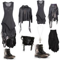 dark mori grey by charliecraft on Polyvore featuring Ann Demeulemeester, AllSaints, Bohemian Society, H&M and Botkier