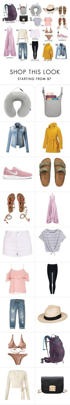 """What to pack for backpacking Europe"" by savannahsadventures on Polyvore featuring MyTagalongs, Pacsafe, LE3NO, Helly Hansen, NIKE, Birkenstock, Hollister Co., Loup Charmant, BB Dakota and M&Co"