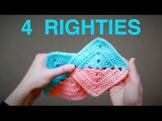 DIAGONAL 2 Tone Simple Granny Square (4 Righties) - YouTube