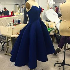 Just a little blue number In the #zacposen #atelier being finished for production.
