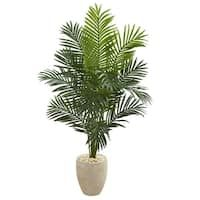 Nearly Natural Indoor ft. Paradise Artificial Palm Tree in Sand Colored Planter 5641 - The Home Depot Glass Planter, Planters, Fishtail Palm, Kentia Palm, Artificial Cactus, Bright Color Schemes, Silk Tree, Silk Plants, Fiddle Leaf